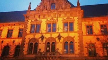 Vue du tribunal de Francfort, lieu du procès d'Aria Ladjedvardi.