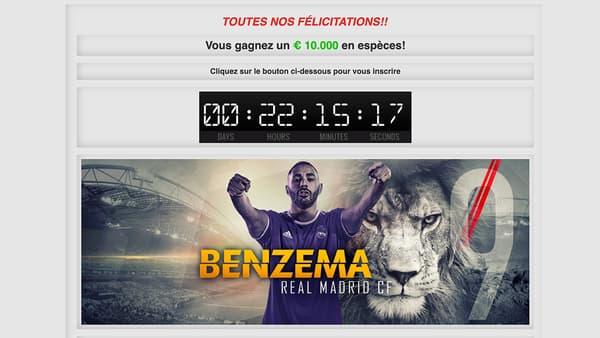 Site d'arnaque mettant en scène l'image de Karim Benzema