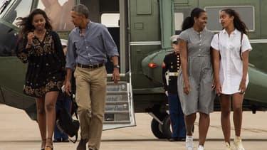 La famille Obama le 21 août 2016 au départ de Washington.