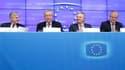 Le président de la Banque centrale européenne Jean-Claude Trichet, le président de l'Eurogroupe Jean-Claude Juncker, le ministre des Finances belge Didier Reynders, dont le pays assure actuellement la présidence de l'UE et le commissaire européen aux Affa