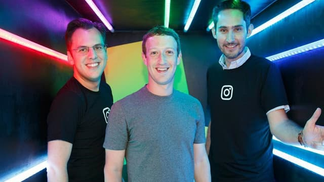 Mark Zuckerberg avec les fondateurs d'Instagram Kevin Systrom et Mike Krieger