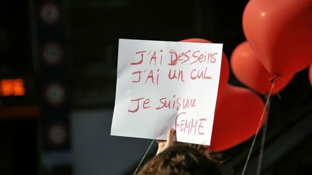 Une affiche lors d'une manifestation pour les droits des femmes en 2011 à Paris (image d'illustration)