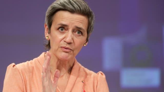 la commissaire européenne à la Concurrence, Margrethe Vestager, le 9 mars 2021 à Bruxelles