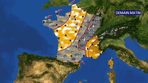 Une perturbation touchera la Bretagne et une grande partie du nord-est ce mardi