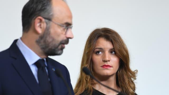 Edouard Philippe et Marlène Schiappa, au moment de présenter les conclusions du grenelle contre les violences faites aux femmes
