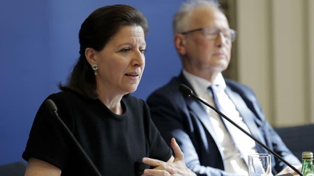 La ministre de la Santé Agnès Buzyn, lors d'une conférence de presse sur le projet de loi de vaccination obligatoire, le 5 juillet 2017 à Paris.
