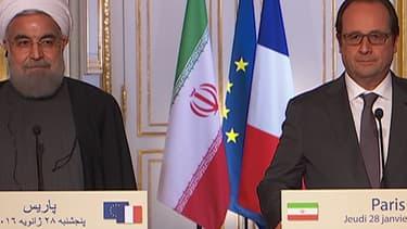 Le président de la République François Hollande (à droite) et son homologue iranien Hassan Rohani à l'Elysée, le 28 janvier 2016.