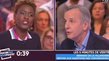 La militante antiraciste et chroniqueuse de TPMP, face au journaliste de M6, Bernard de la Villardière, le 26 février 2017, sur C8.