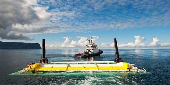 """Installation """"Aquamarine Oyster 800 Wave devise"""" à Orkney en Écosse"""