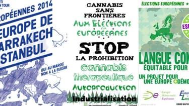 Exemples d'affiches de listes alternatives pour les élections européennes du 25 mai