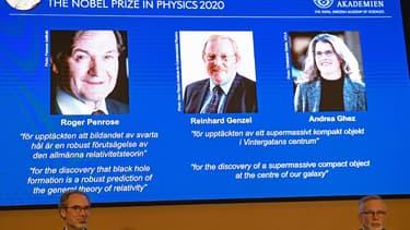 """Le prix Nobel de physique revient à 3 physiciens, pionniers de la recherche sur les """"trous noirs"""""""