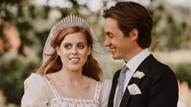 La princesse Béatrice, petite-fille de la reine Elizabeth II, lors de son mariage, le 18 juillet 2020.