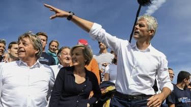 Le président de la région Auvergne-Rhône-Alpes Laurent Wauquiez, candidat à la présidence des Républicains, le 3 septembre 2017 au Mont Mezenc.