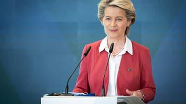 La présidente de la Commission Ursula von der Leyen, à Brdo en Slovénie, le 1er juillet 2021, à l'occasion du début de la présidence slovène de l'Union européenne
