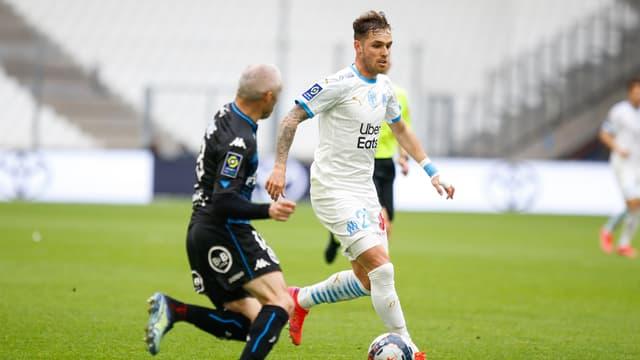 Pol Lirola lors du match OM-Lorient, le 17 avril 2021