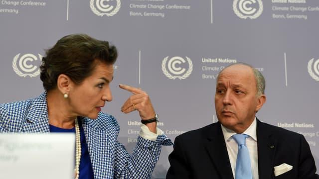 Christiana Figueres et Laurent Fabius à Bonn, le 20.10.2015