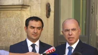 Le président du CFCM Anouar Kbibech et le ministre de l'Intérieur Bernard Cazeneuve, le 24 août 2016.
