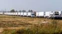 Les camions du convoi russe sont près de la frontière ukrainienne.