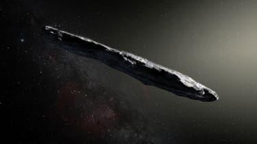 Une représentation artistique de l'astéroïde Oumuamua, transmise par la NASA.