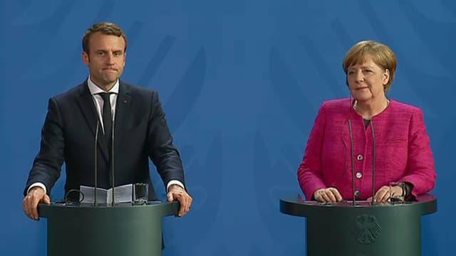 Emmanuel Macron et Angela Merkel, le 15 mai, à Berlin.
