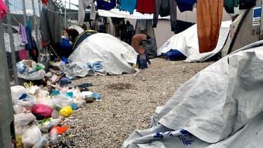 Un camp de migrants près de Lesbos, le 28 novembre 2017