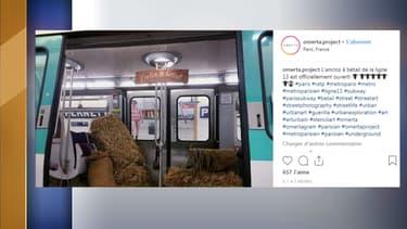 Du foin répandu dans une rame de métro