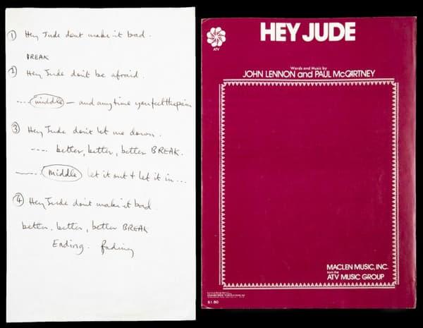 Le manuscrit de Hey Jude des Beatles