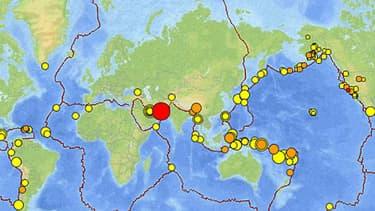 Carte en temps réel des séismes dans le monde.