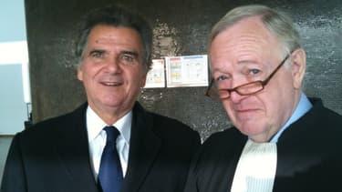 Alain de Pouzilhac et son avocat Olivier Metzner au tribunal de Nanterre