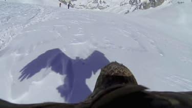 Images du vol d'un aigle à 3.800 mètres d'altitude.