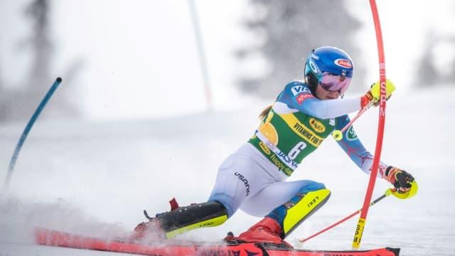 L'Américaine Mikaela Shiffrin lors du slalom de Jasna (Slovaquie), le 6 mars 2021