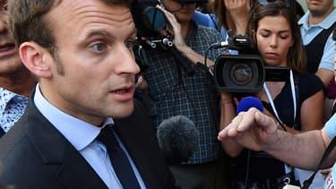 Emmanuel Macron lors d'une visite à Lunel, le 27 mai 2016.