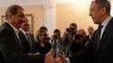 Rencontre à Moscou entre le ministre russe des Affaires étrangères, Sergueï Lavrov (à droite), et le vice-Premier ministre syrien Qadri Jamil, le 22 juillet 2013.