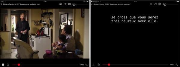 A gauche, une capture Netflix sous iOS 9. A droite, seuls les sous-titres apparaissent sur la capture iOS 10.