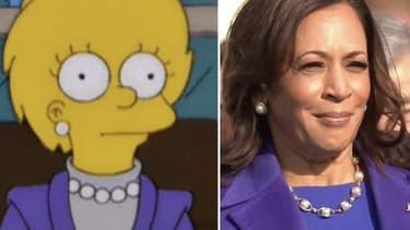 Lisa Simpson dans un épisode diffusé en 2000, et Kamala Harris le 20 janvier 2021 à Washington.