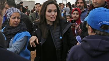 Angelina Jolie dans un camp de réfugiés syriens de Zaatari, en Jordanie, le 28 janvier 2018