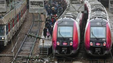 Des transiliens en gare de Saint-Lazare en février 2018.