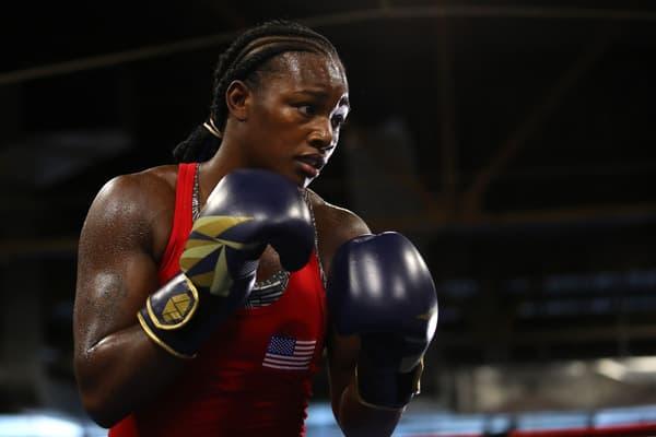 La boxeuse Claressa Shields à l'entraînement en octobre 2019