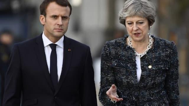 Emmanuel Macron et Therasa May  le 17 novembre 2017.