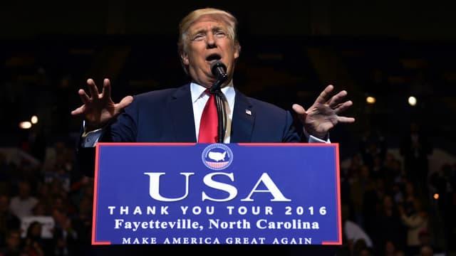 Donald Trump lors d'un meeting à Fayetteville, en Caroline du Nord, le 6 décembre 2016