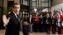 Nicolas Sarkozy à son arrivée à Bruxelles. Les dirigeants de l'Union européenne ont 36 heures devant eux pour s'entendre sur la future architecture de la zone euro, alors que s'est ouvert à Bruxelles un sommet européen dont les résultats doivent convaincr