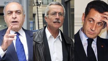 Ziad Takieddine (à gauche) a été mis en examen par le juge Van Ruymbeke (au centre), et charge Nicolas Sarkozy (à droite) dans une affaire de financement occulte.
