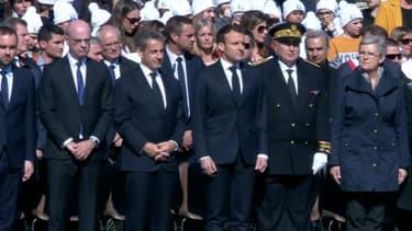 Emmanuel Macron et Nicolas Sarkozy aux Glières, le 31 mars.
