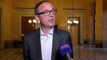 Yann Galut depuis l'Assemblée nationale sur BFMTV le 12 mai 2016.