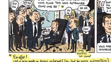 Emmanuel Macron après le débat d'entre-deux tours de 2017, en compagnie de ses soutiens... et de Mathieu Sapin