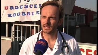 Antoine Depelchin, porte-parole des urgentistes de Roubaix le 4 mars 2013.