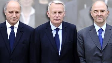 Laurent Fabius, Jean-Marc Ayrault et Pierre Moscovici seront confrontés à une croissance plus faible qu'ils ne l'avaient annoncé.