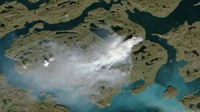 Image satellite de feux au Groenland en 2017