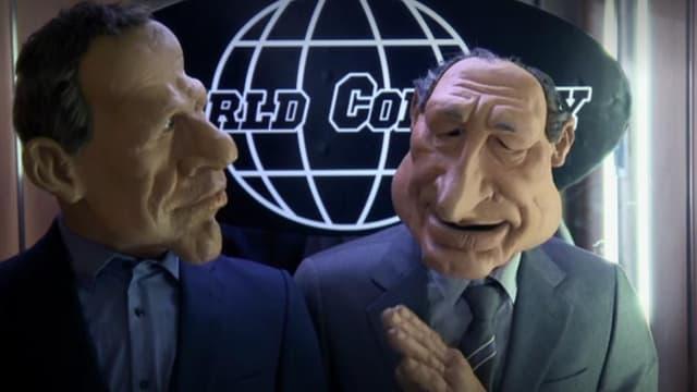 Les marionnettes de Patrick Poivre d'Arvor et de Jacques Chirac dans la toute dernière émission des Guignols, le 22 juin 2018.