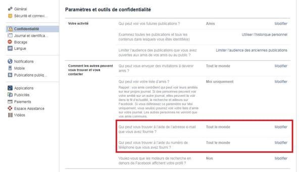 """Il est possible de changer les paramètres généraux du compte dans l'onglet """"confidentialité"""""""